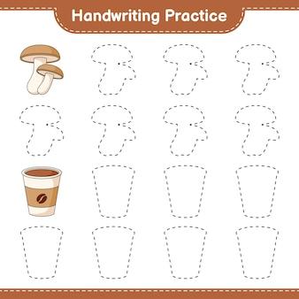 Prática de caligrafia traçando linhas de shiitake e coffee cup jogo educativo para crianças