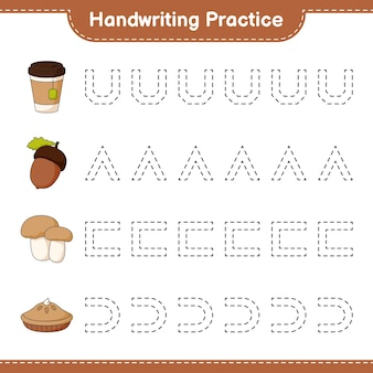 Prática de caligrafia traçando linhas de torta de chá de bolota e boleto de cogumelo