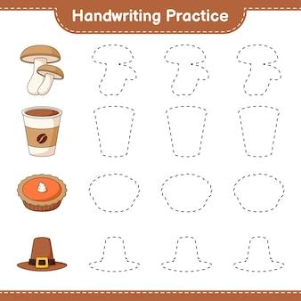 Prática de caligrafia traçando linhas de torta de chapéu de shiitake e xícara de café jogo educativo para crianças