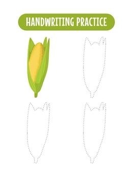 Prática de caligrafia traçando linhas de vegetais educacionais para crianças escrevendo jogo de prática