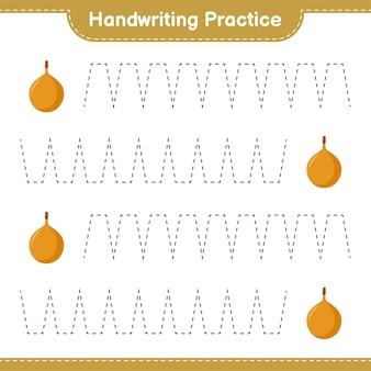 Prática de caligrafia. traçando linhas de voavanga. jogo educativo para crianças, planilha para impressão