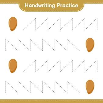 Prática de caligrafia. traçando linhas de zapote. jogo educativo para crianças, planilha para impressão