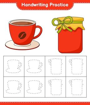 Prática de caligrafia traçando linhas do jogo educativo infantil de geléia e xícara de café