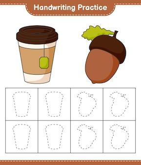 Prática de caligrafia traçando linhas do jogo educativo para crianças bolota e xícara de chá