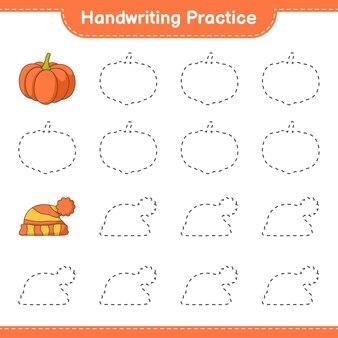 Prática de caligrafia traçando linhas do jogo educativo para crianças de abóbora e chapéu