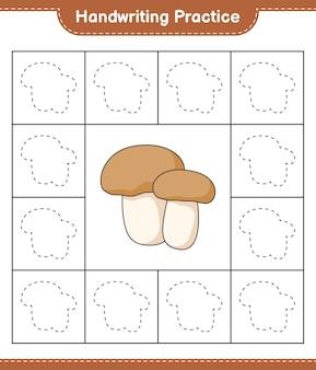 Prática de caligrafia traçando linhas do jogo educativo para crianças mushroom boletus