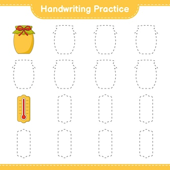 Prática de caligrafia traçando linhas do jogo educativo para crianças thermometer and jam