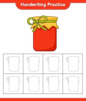 Prática de caligrafia traçando linhas do jogo infantil jam educacional
