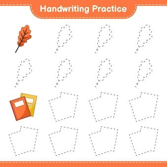 Prática de caligrafia traçando linhas do jogo infantil oak leaf e book