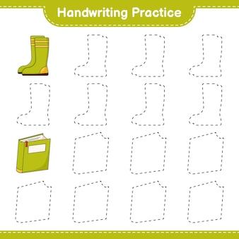 Prática de caligrafia traçando linhas do livro e botas de borracha jogo educativo para crianças