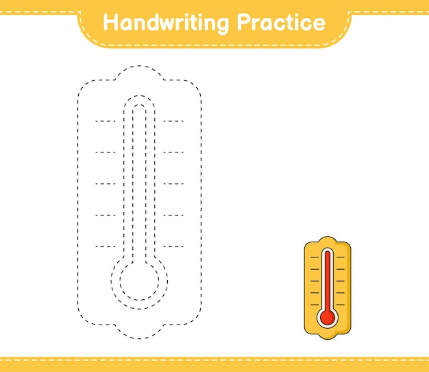 Prática de caligrafia traçando linhas do termômetro. planilha para impressão do jogo educativo para crianças