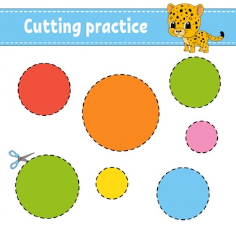 Prática de corte para crianças. planilha de desenvolvimento de educação. página de atividade com fotos.