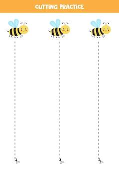 Prática de corte para crianças pré-escolares. corte por linha tracejada. abelha kawaii fofa.