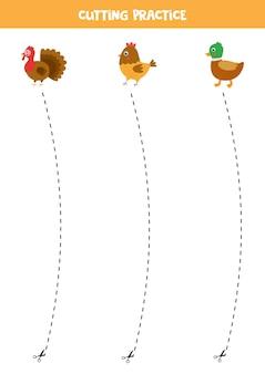 Prática de corte para crianças pré-escolares. corte por linha tracejada. aves de fazenda.