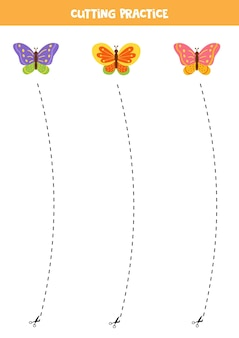 Prática de corte para crianças pré-escolares. corte por linha tracejada. borboletas de bonito dos desenhos animados.