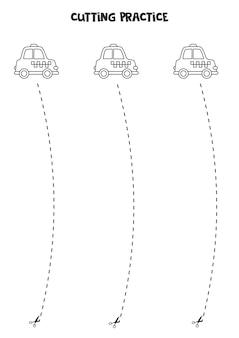 Prática de corte para crianças pré-escolares. corte por linha tracejada. carro de táxi preto e branco.