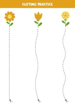 Prática de corte para crianças pré-escolares. corte por linha tracejada. flores de verão bonitos.