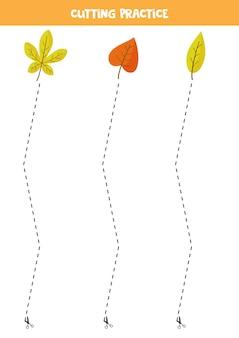 Prática de corte para crianças pré-escolares. corte por linha tracejada. folhas de outono.