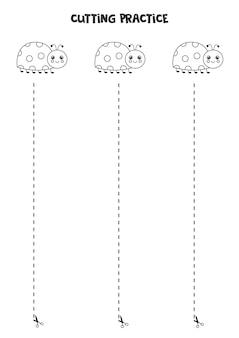 Prática de corte para crianças pré-escolares. corte por linha tracejada. joaninha bonita.