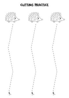 Prática de corte para crianças pré-escolares. corte por linha tracejada. ouriço preto e branco.