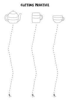 Prática de corte para crianças pré-escolares. corte por linha tracejada. pratos de cozinha preto e branco.