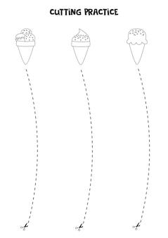 Prática de corte para crianças pré-escolares. corte por linha tracejada. sorvetes preto e branco.