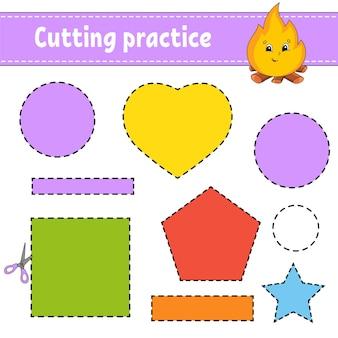 Prática de corte para crianças