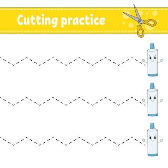 Prática de corte para crianças.