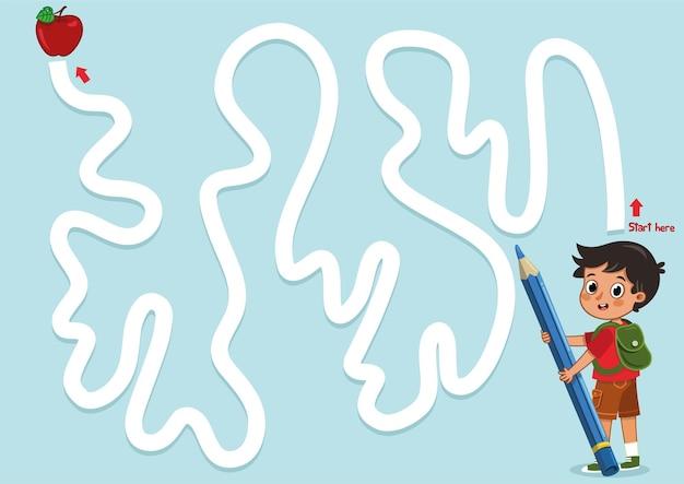 Prática de desenho como um jogo de labirinto. para crianças, ilustração vetorial