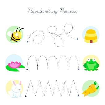 Prática de escrita à mão com diferentes elementos