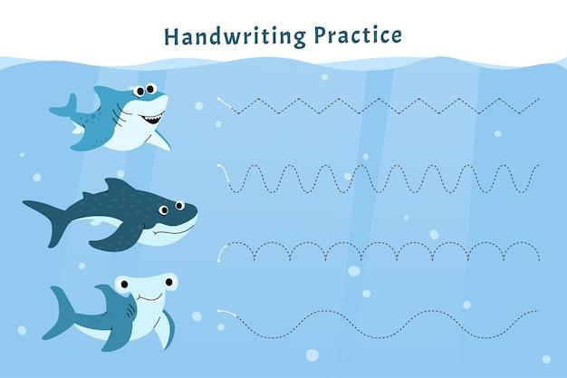Prática de escrita à mão com tubarões