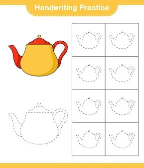 Prática de escrita à mão traçando linhas da planilha para impressão do jogo educacional infantil bule