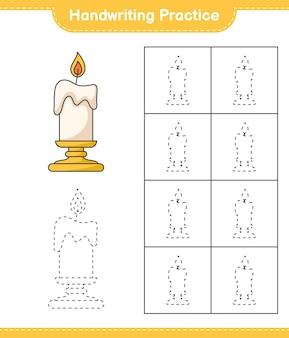 Prática de escrita à mão traçando linhas da planilha para impressão do jogo educacional infantil candle