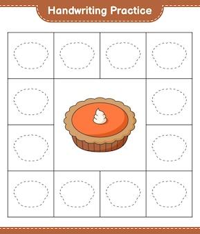Prática de escrita à mão traçando linhas da planilha para impressão do jogo educacional infantil de tortas