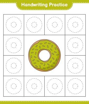 Prática de escrita à mão traçando linhas da planilha para impressão do jogo educacional infantil donut