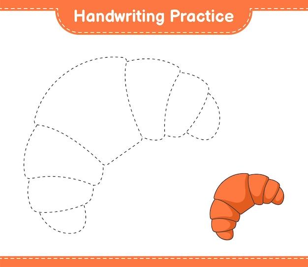Prática de escrita à mão traçando linhas da planilha para impressão do jogo educativo infantil croissant