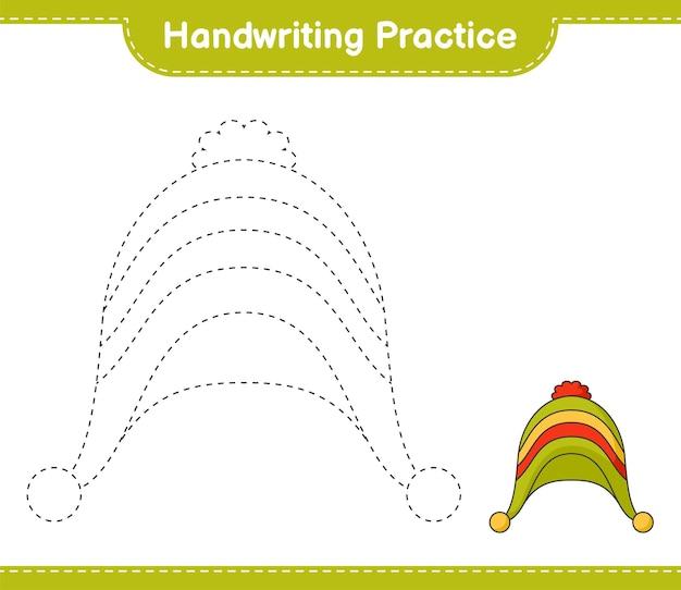 Prática de escrita à mão traçando linhas da planilha para impressão do jogo infantil hat educacional