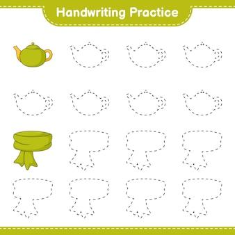 Prática de escrita à mão traçando linhas de cachecol e bule jogo educativo para crianças