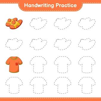 Prática de escrita à mão traçando linhas de camisetas e chinelos jogo educativo para crianças