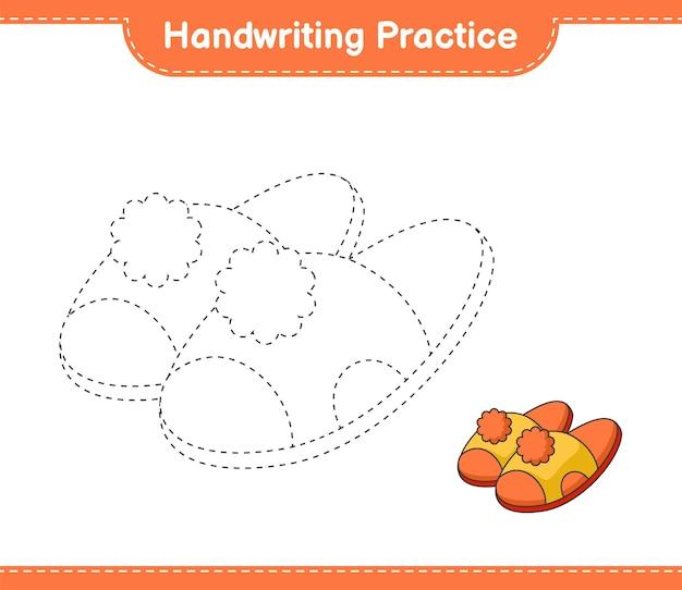 Prática de escrita à mão traçando linhas de chinelos - planilha para impressão do jogo educacional infantil