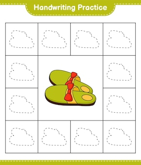 Prática de escrita à mão traçando linhas de chinelos. planilha para impressão do jogo educacional infantil