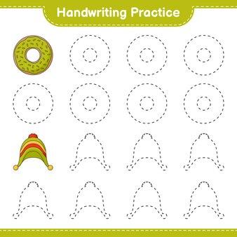 Prática de escrita à mão traçando linhas de donut e chapéu planilha para impressão do jogo educativo para crianças