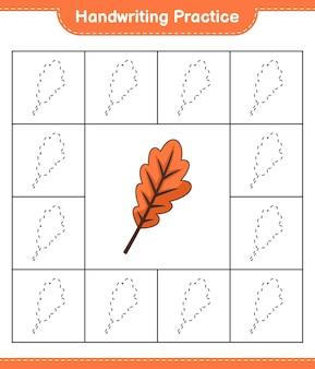 Prática de escrita à mão traçando linhas de folha de trabalho para impressão do jogo infantil oak leaf educacional