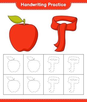 Prática de escrita à mão traçando linhas de jogo educativo infantil apple e lenço