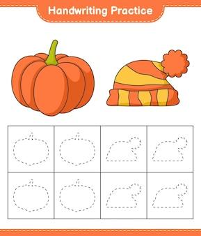 Prática de escrita à mão traçando linhas de jogo educativo para crianças de abóbora e chapéu