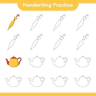 Prática de escrita à mão traçando linhas de jogo educativo para crianças de bule e guarda-chuva