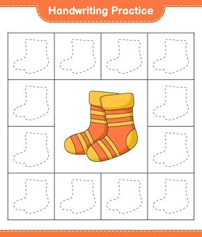 Prática de escrita à mão traçando linhas de planilha para impressão do jogo educacional de meias para crianças