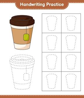 Prática de escrita à mão traçando linhas de planilha para impressão do jogo educacional infantil da xícara de chá