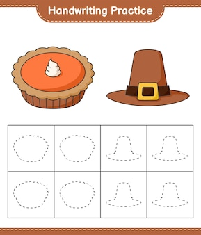 Prática de escrita à mão traçando linhas de planilha para impressão do jogo educativo para crianças de chapéu e torta