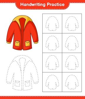 Prática de escrita à mão traçando linhas de roupas quentes. planilha para impressão de jogos educativos para crianças